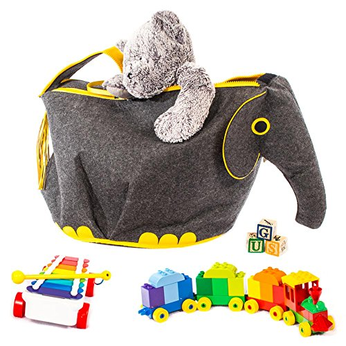 G.U.S Animal Shaped Toy Storage Box, Collapsible Lightweight Bins with Easy Open, Double-Pull Zipper Handle, Elephant, Gray with Yellow (Noahs Ark Toy Chest)