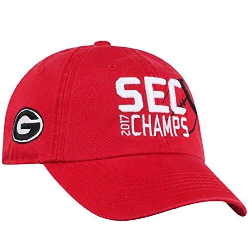 Top of the World Georgia Bulldogs 2017 NCAA SEC Football Champ Crew Adjustable Cap, Red (Locker Room Licensed Bulldogs Georgia)