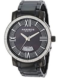 Akribos XXIV Men's AK506BK Diamond Swiss Quartz Bracelet Watch