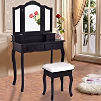 Item Valley Black Vanity Makeup Dressing Table Set W/Stool 4 Drawer&Mirror Jewelry Wood Desk