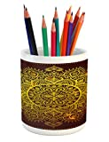 Ambesonne Mandala Pencil Pen Holder, Ornamental Snowflake Floral Ethnic Traditional Arabian Oriental Graphic Artwork, Printed Ceramic Pencil Pen Holder for Desk Office Accessory, Yellow Brown
