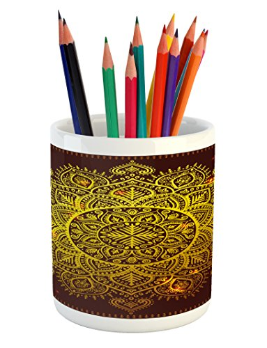 Ambesonne Mandala Pencil Pen Holder, Ornamental Snowflake Floral Ethnic Traditional Arabian Oriental Graphic Artwork, Printed Ceramic Pencil Pen Holder for Desk Office Accessory, Yellow Brown by Ambesonne