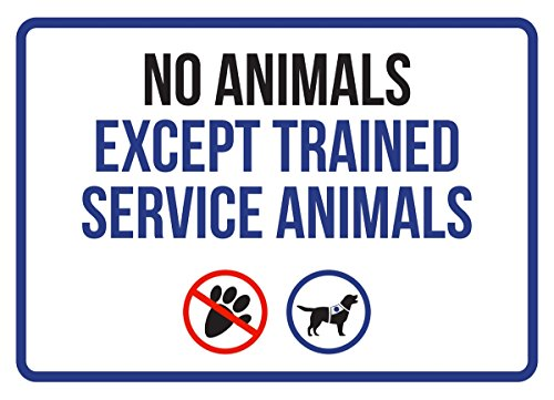 No Animales Except Trained Service Animals Disability Business Commercial Safety Warning Small Sign, Plastic, 7.5x10.5 by iCandy Products Inc