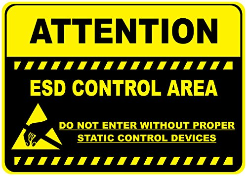 Attention Esd Control Area Yellow Black Anti-Slip Floor Sticker Decal 17 in longest side