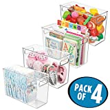 mDesign Plastic Storage Organizer, Holder Bin Box with Handles - for Cube Furniture Shelving Organization for Closet, Kid's Bedroom, Bathroom, Home Office - 5'' x 12'' x 8'' high - 4 Pack, Clear