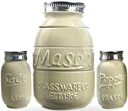 Cooking Upgrades Mason Jar Measuring Cups Salt and Pepper Shaker Kitchen Baking Set Vintage Rustic Antique Farmhouse Look and Design (Rustic Green)