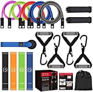 FITINDEX 22Pcs Resistance Bands Set with Handles, Workout Bands Resistance for Women Men, 5 Exercise Bands Sta