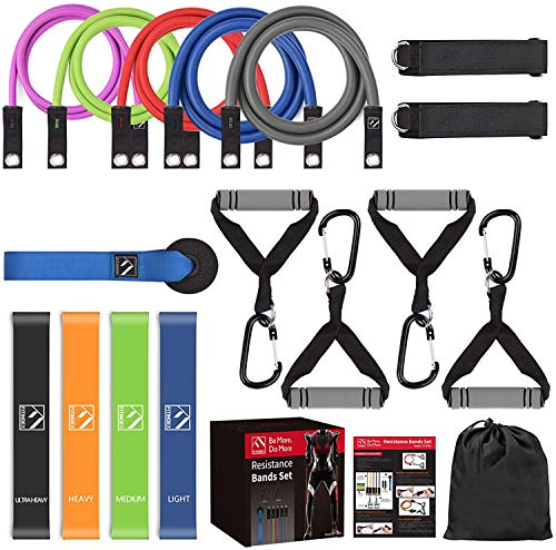 FITINDEX 22PCS Resistance Bands Set with Handles, Workout Bands Resistance for Women Men, 5 Exercise Bands Stackable Up to 150lbs with Door Anchor and Ankle Straps for Home Gym Muscle Building
