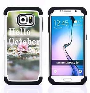 /Skull Market/ - Hello October For Samsung Galaxy S6 G9200 - 3in1 h????brido prueba de choques de impacto resistente goma Combo pesada cubierta de la caja protec -