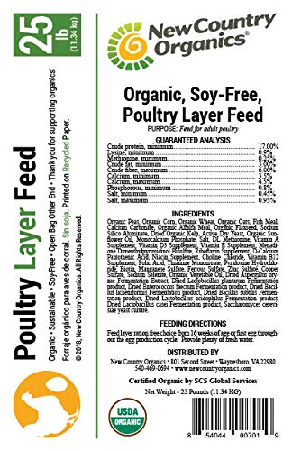 New Country Organics Soy Free 17% Chicken Layer Feed 25 LBs by New Country Organics (Image #2)