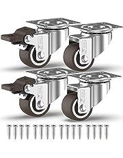 GBL® 4 Kleine Zwenkwielen 25mm + Schroeven TPR Rubber | Zwaarlastwielen 40KG - Zwenkwielen Voor Meubels | Zwenkwieltjes voor een Trolley - Meubelzwenkwielen met rem - Transportwielen