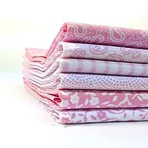 Craft Cotton Company - Selección de telas para manualidades (forma cuadrada), color rosa y blanco Seis telas de 45,7 x 56,8 cm aprox. Para patchwork y manualidades.