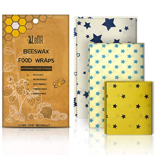 Eco Friendly Reusable Beeswax Food Storage Wraps by Elena-3 Piece Assorted Size Variety Pack (1 Small, 1 Medium, 1 Large)- Natural,Biodegradable, Non-Toxic