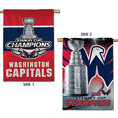 (WinCraft Washington Capitals Stanley Cup 2018 NHL Champions Double Sided House Banner Flag)