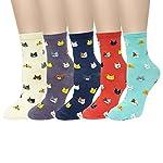 Bowbear Womens 5-Pair Silly Animals Crew Socks, Walk My Dog 4