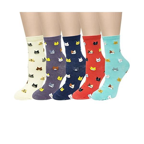 Bowbear Womens 5-Pair Silly Animals Crew Socks, Walk My Dog 1
