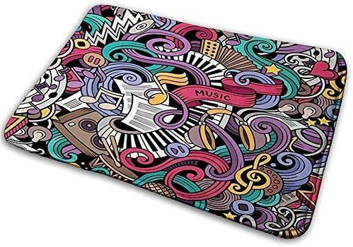 Felpudo Alfombra de baño Alfombrilla Alfombra Doodle Música Temática HDrawn Instrumentos Micrófono Batería Teclado Stradivarius: Amazon.es: Hogar