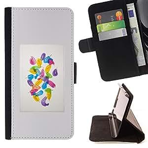 For Sony Xperia Z1 Compact / Z1 Mini (Not Z1) D5503 Case , Marco de la acuarela Popsicle Blanca- la tarjeta de Crédito Slots PU Funda de cuero Monedero caso cubierta de piel