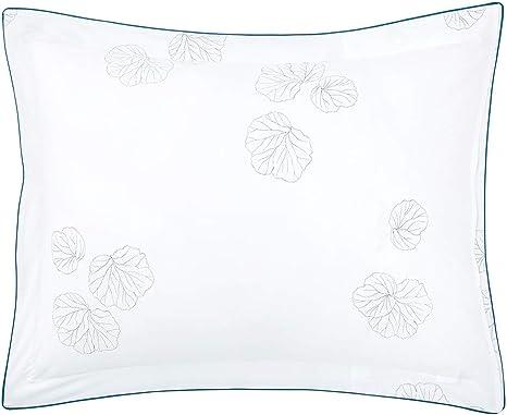 FRANCE YVES DELORME PAVOT PERCALE COTTON WHITE PILLOW SHAM W//POPPY FLOWER PRINTS