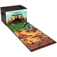 Livememory Dinosaurs Toy Box Kids Dinosaurs Storage Bins Play Mat Toys Storage Box (Not Included Dinosaur Figures)-Brown