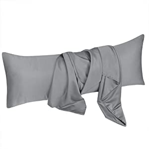 uxcell Body Pillow Cover 20x48 Inch Light Gray Silky Satin Body Pillowcases for Hair and Skin Luxury Cooling Anti Wrinkle Wash-Resistant