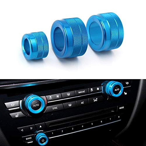 iJDMTOY 3pcs Blue Anodized Aluminum AC Climate Control and Radio Volume Knob Ring Covers For 2011-16 BMW F10 F11 F07 5 Series 5GT, 2011-17 F12 F13 F06 6 Series, Gran Coupe, 2008-15 F01 F02 7 Series ()