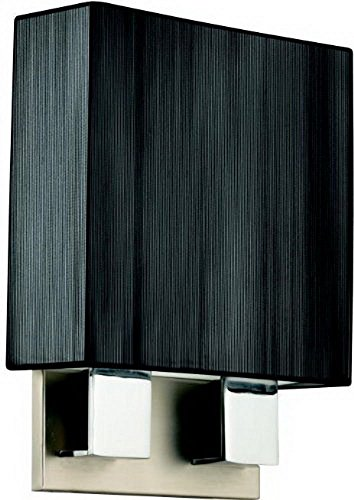 Black Chrome Fluorescent Sconce - GHP Home Fluorescent Wall in Brushed Nickel and Chrome and Black String Shade