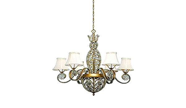 Bel Air Lighting Amberlin 6 Light Bronze And Crystal Chandelier With White Shades Amazon Ca Electronics
