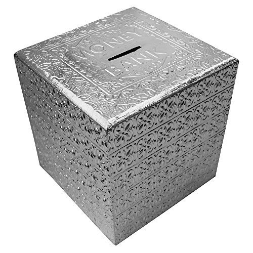 Child Silver Coin (ITOS365 Handicrafted Wooden Money Bank Square Silver Kids Piggy Coin Box Gifts - 5 X 5 Inches)
