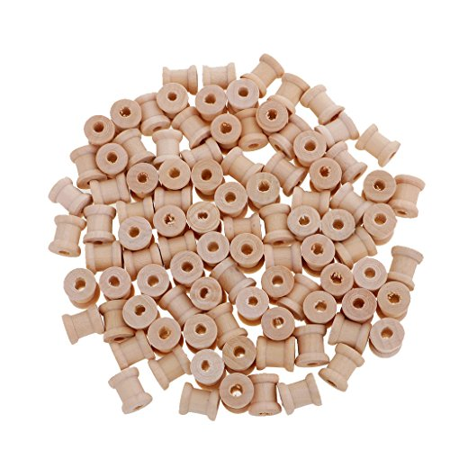 MagiDeal 100 Pieces Mini Natural Color Wooden Empty Spools for Thread String Ribbons Wires Trims 14mmx12mm (Spools Thread Wooden)