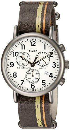 Timex Men s TW2P78000 Weekender Chrono Oversize Brown Green Orange Stripe Leather NATO Slip-Thru Strap Watch