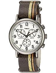 Timex Mens TW2P78000 Weekender Chrono Oversize Brown/Green/Orange Stripe Leather NATO Slip-Thru Strap Watch