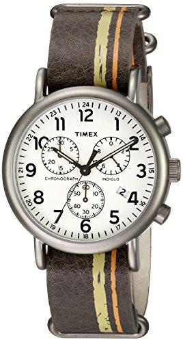 Timex Men's TW2P78000 Weekender Chrono Oversize Brown/Green/Orange Stripe Leather NATO Slip-Thru Strap Watch