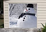 Snowman Banner Murals for Single Car Garage Covers Happy Holiday Merry Christmas Full Color Door Decor Decorations of House Garage Billboard 3D Effect Print Size 83 x 89 inches DAV116