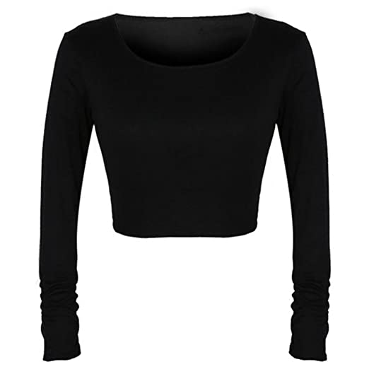 2e47ad9a ROPALIA Sexy Womens Long Sleeves Cropped Tops Tees Short T-shirt Blouse  Clubwear Black