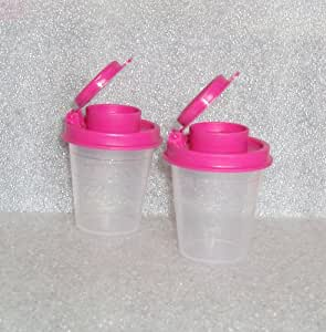 Tupperware Clear Salt and Pepper Shakers Set with Hot Pink Seals by Tupperware