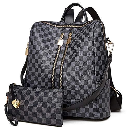 Backpack for women Fashion Leather Ladies Rucksack Crossbody Shoulder Bag 2pcs Purses Backpack Set (Black-01)