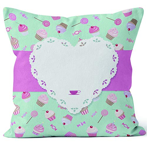 Nine City Elegant Template with lacy Cutout Heart Sack Burlap Pillow,HD Printing Square Pillow case,18