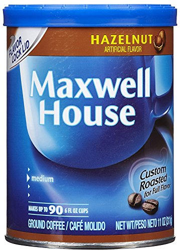 Maxwell House Hazelnut Ground Coffee, 11-Ounce Canister (Pack of 2) -