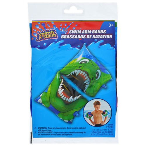 Splash N Swim Arm Bands Printed Inflatable Swimmies Pool Beach Training Aid Toy, Green Dinosaur, 2 Pair (Comes with Free How to Live Stress Free Ebook)