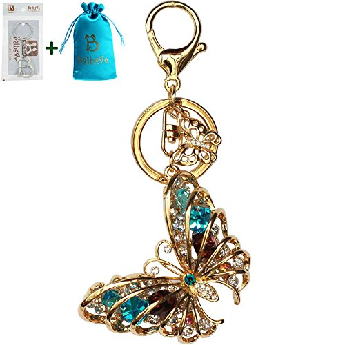 Bolbove Diamond Butterfly Keychain Sparkling Keyring Crystal Rhinestones Purse Pendant Handbag Charm