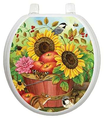 Toilet Tattoos, Toilet Seat Cover Decal,Fall Apple Basket, Size Round/standard