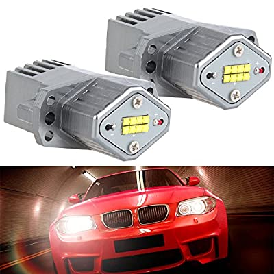 cciyu Replacement fit for BMW Ultra White 80W E90 Error Free CREE LED Angel Eyes Halo Ring Marker Bulbs: Automotive