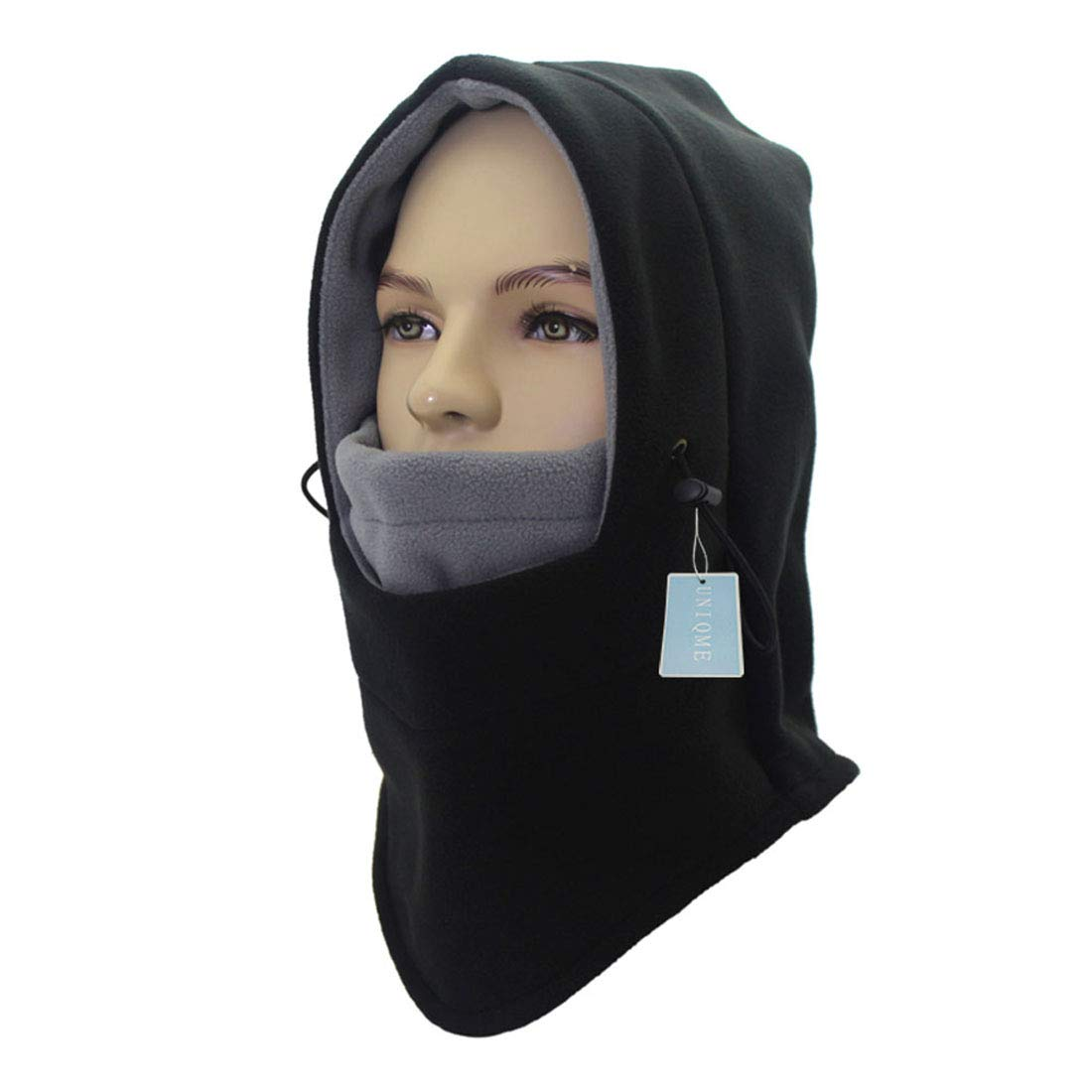 UNIQME Winter Balaclava Face Mask for Men Women Child, Fleece Windproof Ski Face Mask, Balaclava Hood (Black&Grey)