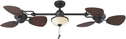 Harbor Breeze Twin breeze 74-in Oil rubbed bronze Indoor Outdoor Downrod Mount Ceiling Fan with Light Kit 6-Blade