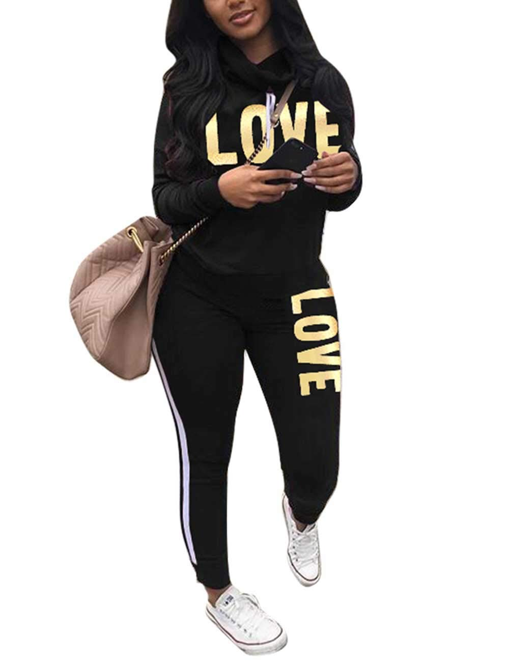 Women's Tracksuit Cowl Neck Long Sleeve Sweatshirt and Sweatpants Set Letter Print 2 Piece Outfits Black 2XL