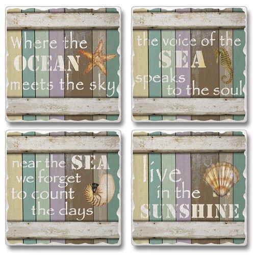 海Deams 4コースターのセットMade in USA – 海、海洋、Sunshine   B0721LF963