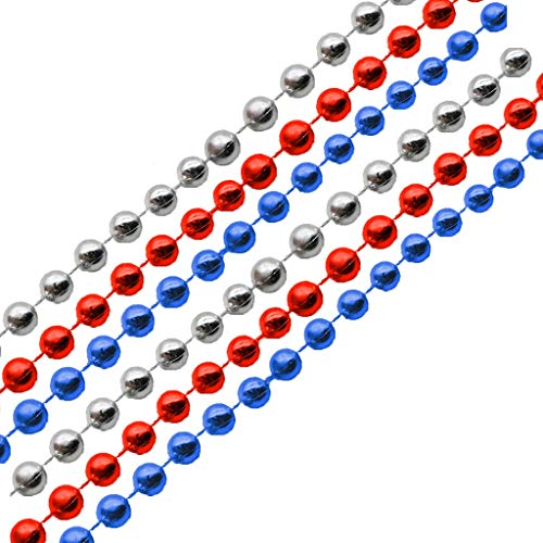 CHLZYD Patriotic Metallic Star Bead Necklaces Fourth/4th of July Party Favors