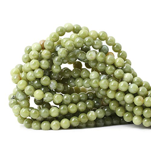 Qiwan 60PCS 6mm Natural Color Taiwan Green Jade Green Stone Round Loose Beads for DIY Jewelry Making