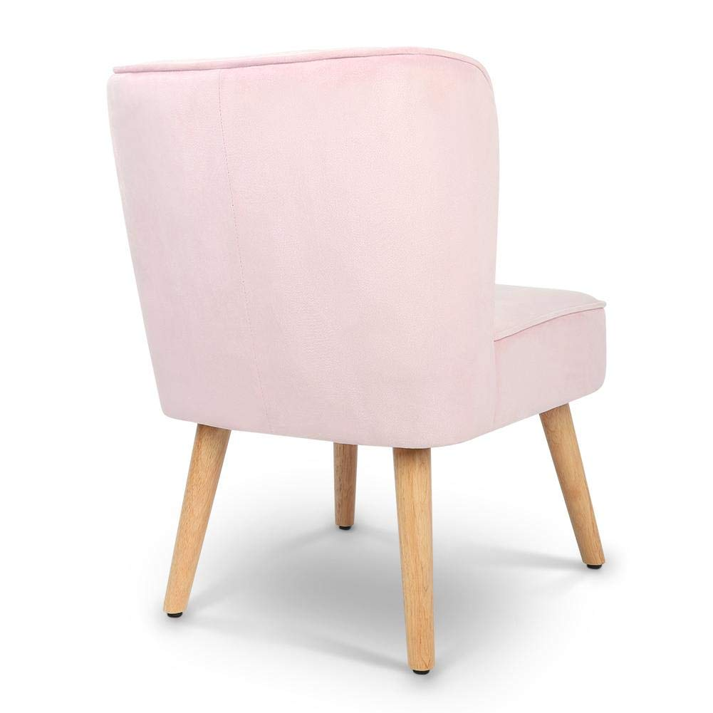 lyrlody Accent Chairs,Velvet Dining Chair Lounge Chair Accent Chair with Backrest and Sturdy Wood Legs for Living Room Bed Room Pink,78 x 50 x 45cm